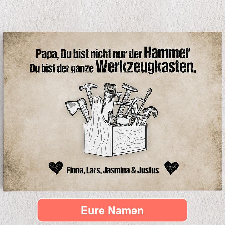 Personalisiertes Leinwandbild Papa ist der Hammer