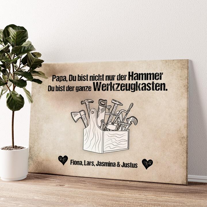 Papa ist der Hammer Wandbild personalisiert