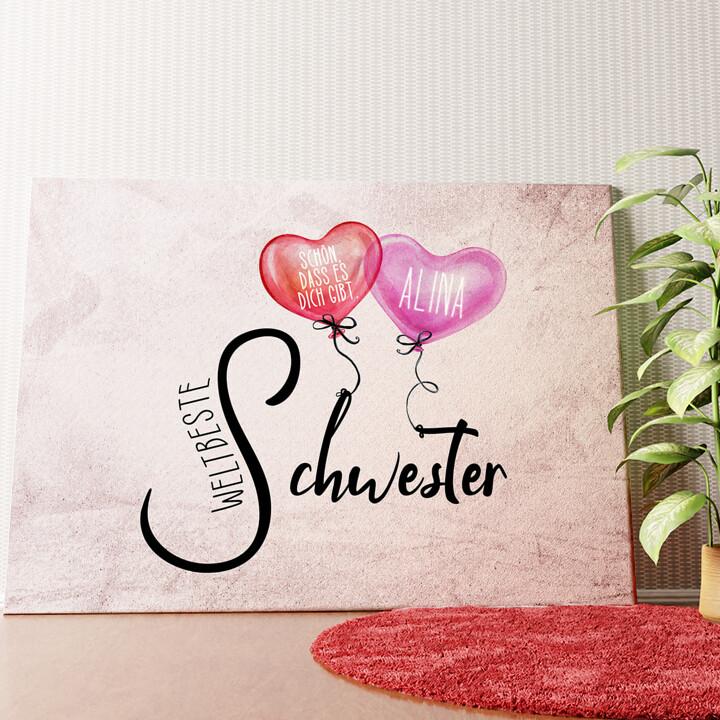 Personalisiertes Wandbild Weltbeste Schwester