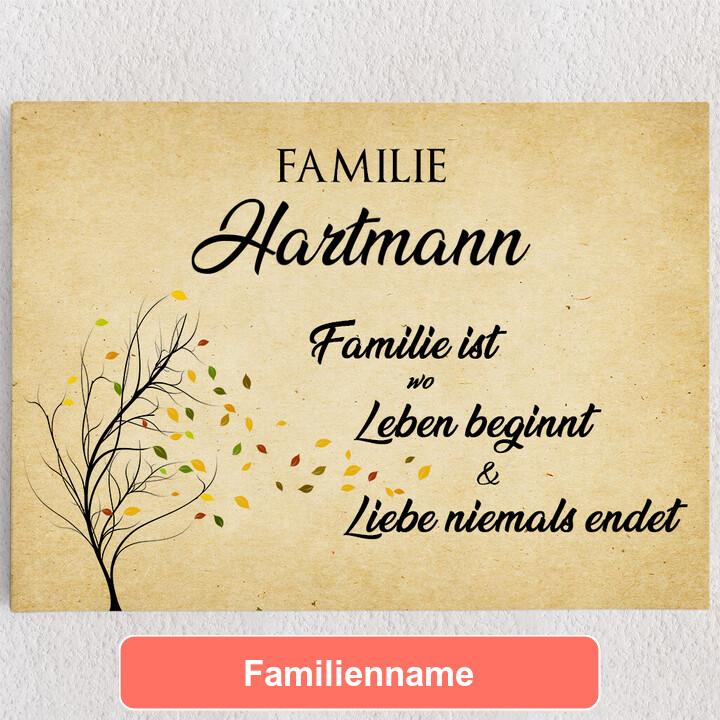Personalisiertes Leinwandbild Familienleben