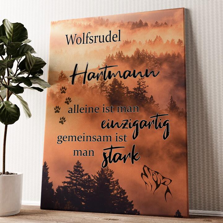 Wolfsfamilie Wandbild personalisiert