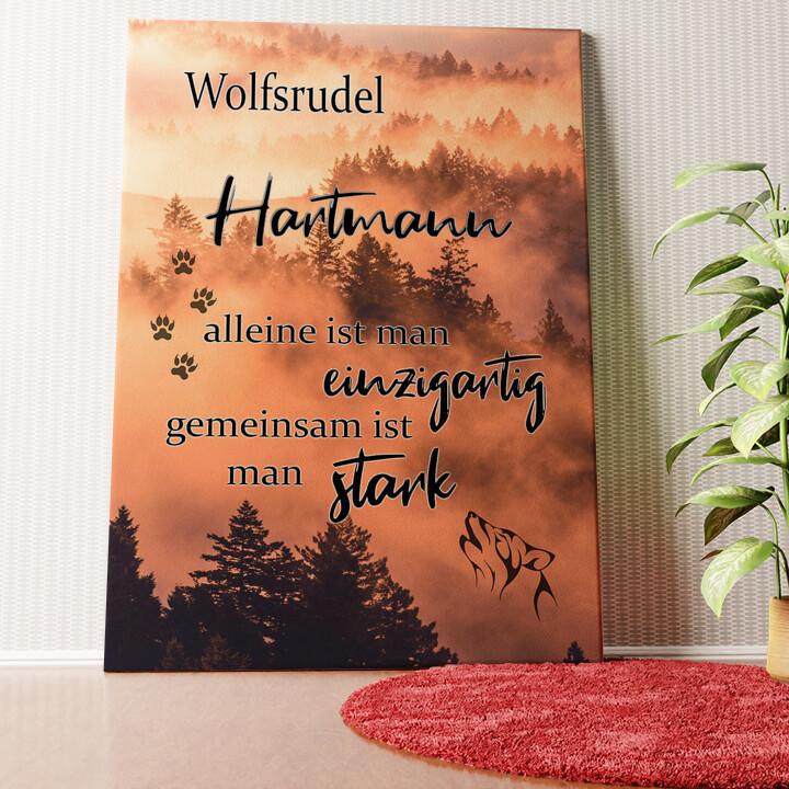 Personalisiertes Wandbild Wolfsfamilie