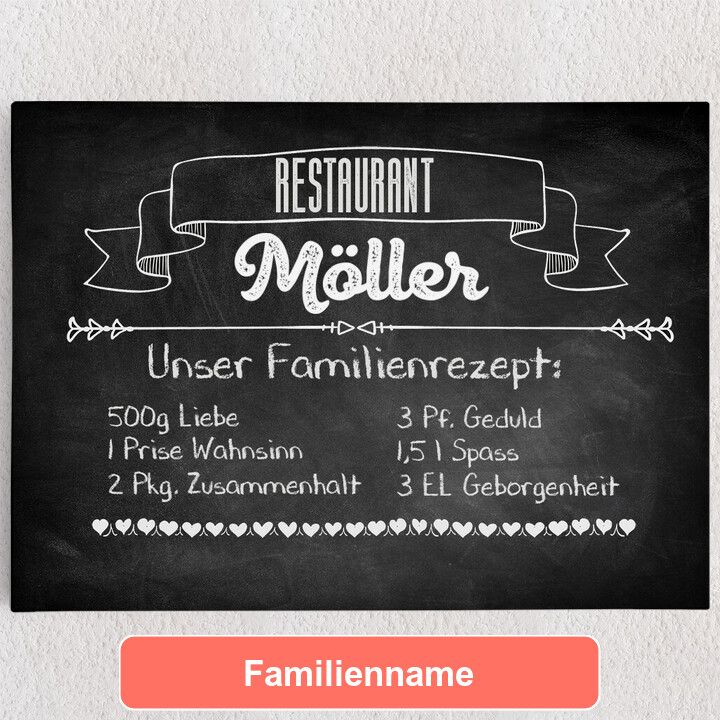 Personalisiertes Leinwandbild Familienrezept