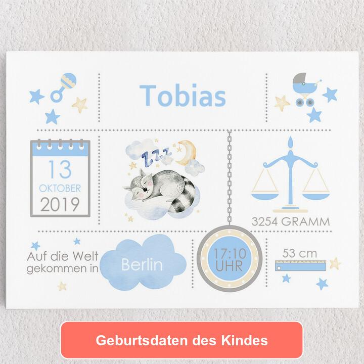 Personalisiertes Leinwandbild Baby Leinwand Waschbär