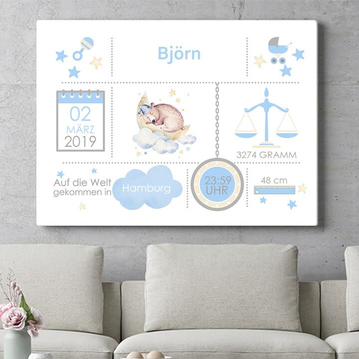 Personalisierbares Geschenk Baby Leinwand Bär