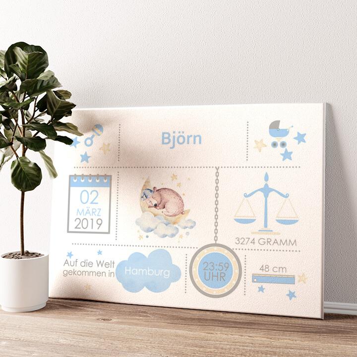 Baby Leinwand Bär Wandbild personalisiert