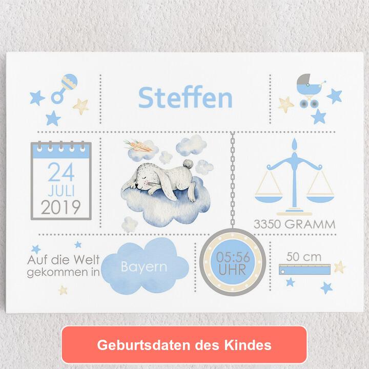 Personalisiertes Leinwandbild Baby Leinwand Hase auf Wolke