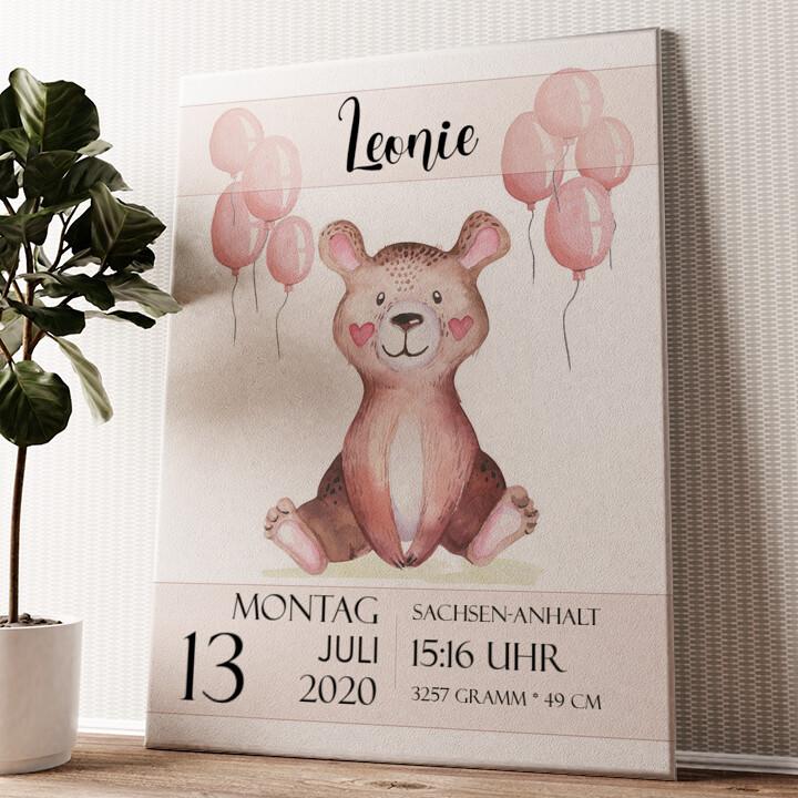 Leinwand zur Geburt Teddybär Wandbild personalisiert