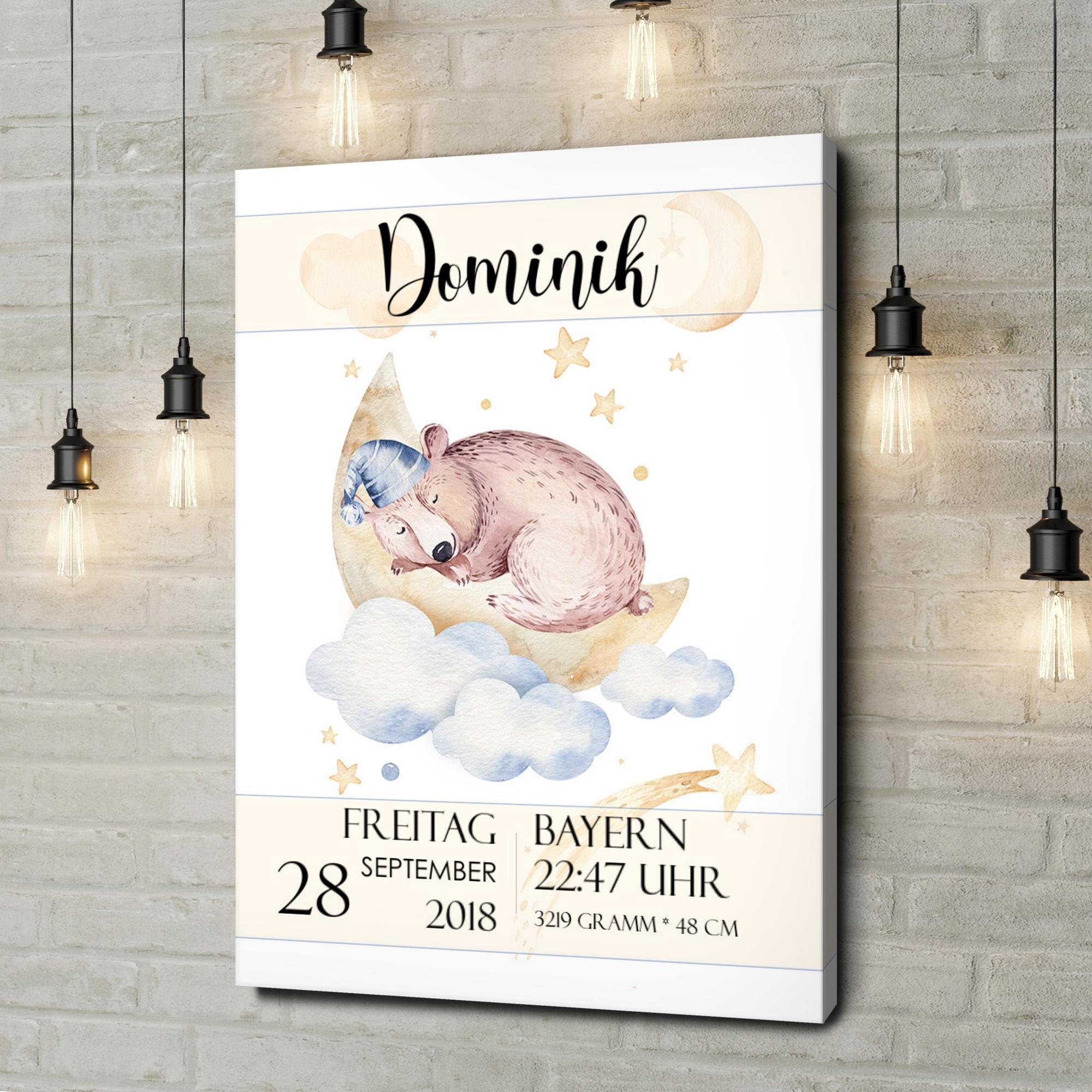 Leinwandbild personalisiert Leinwand zur Geburt Bär träumt