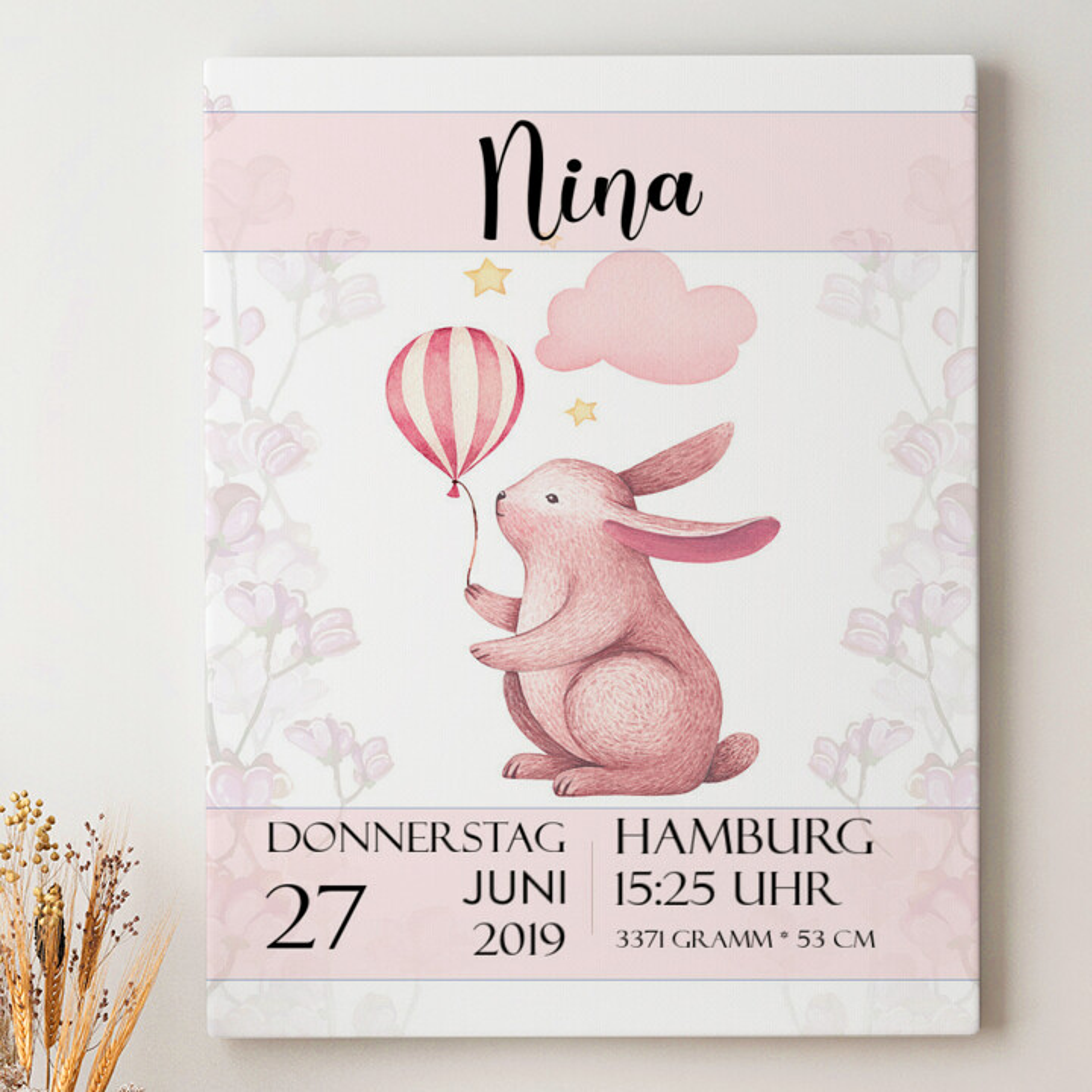 Leinwandbild personalisiert Leinwand zur Geburt Hase mit Ballon