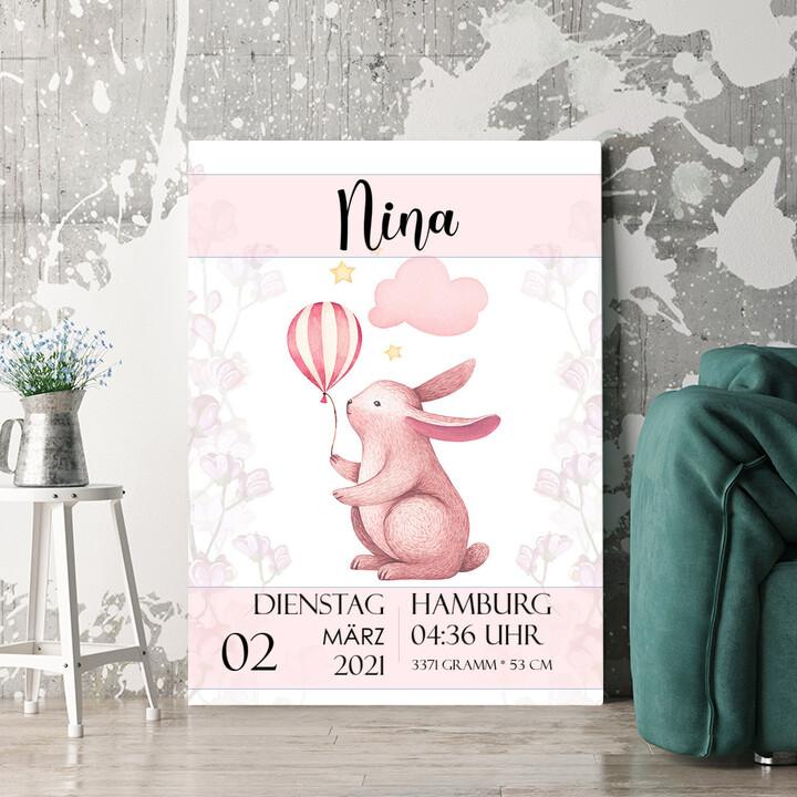 Personalisierbares Geschenk Leinwand zur Geburt Hase mit Ballon
