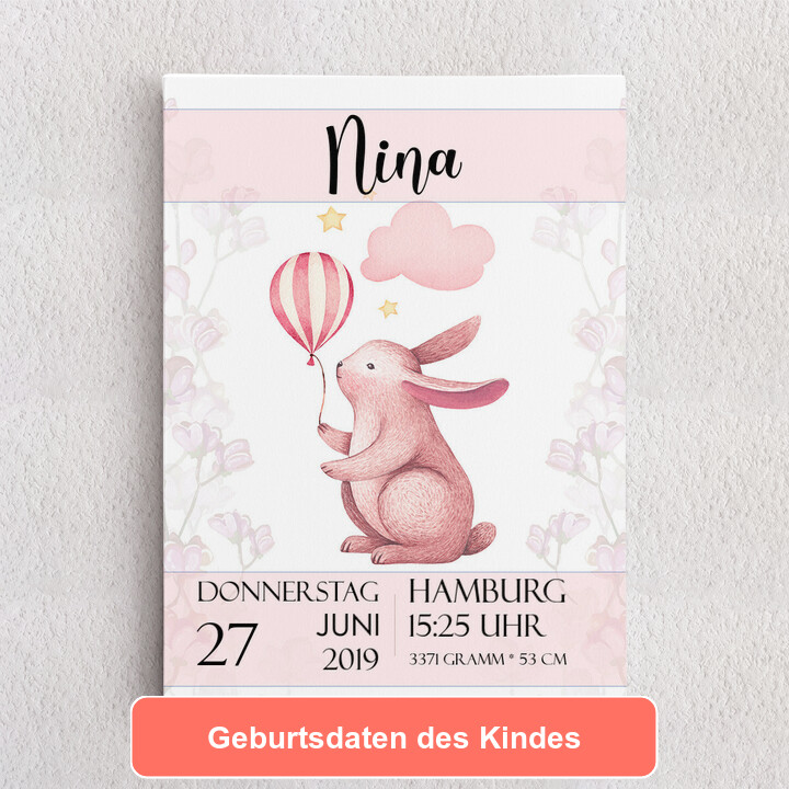 Personalisiertes Leinwandbild Leinwand zur Geburt Hase mit Ballon