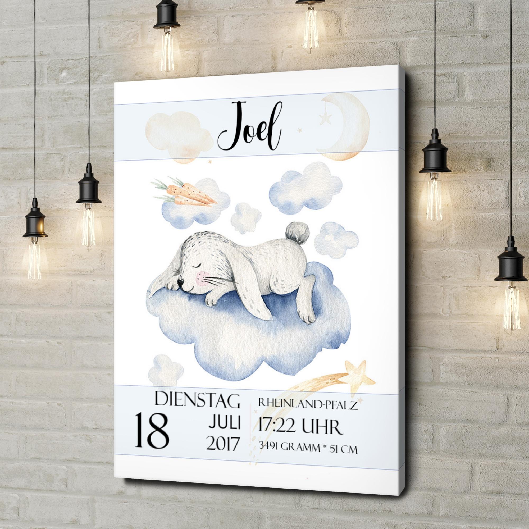 Leinwandbild personalisiert Leinwand zur Geburt Hase träumt