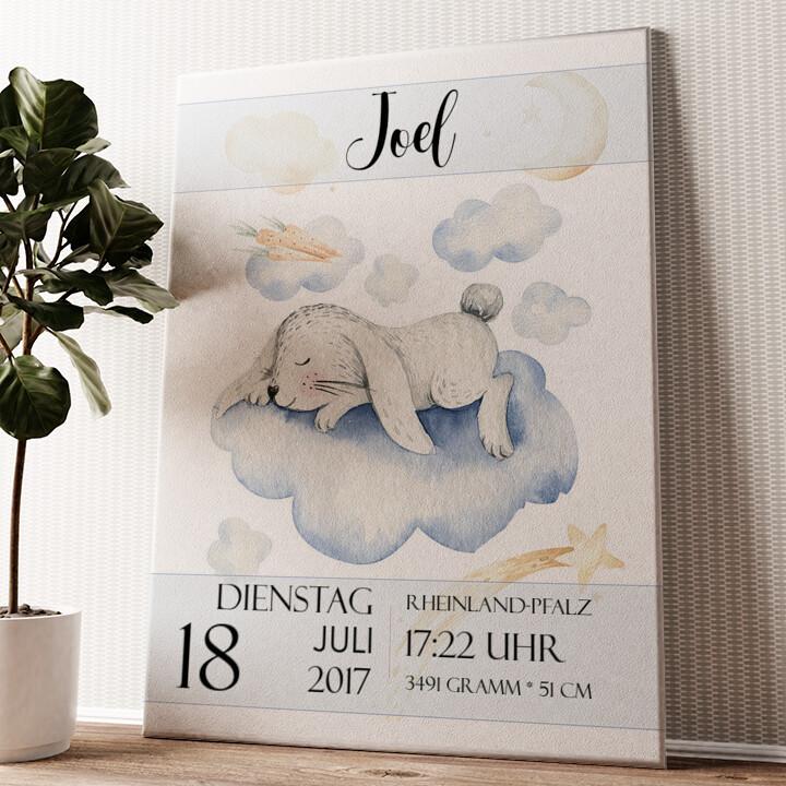Leinwand zur Geburt Hase träumt Wandbild personalisiert