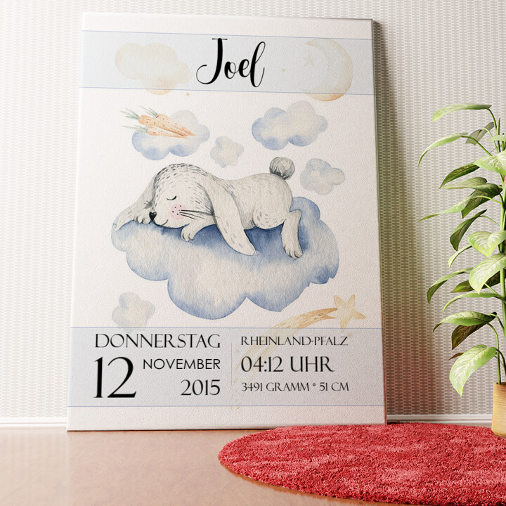 Personalisiertes Wandbild Leinwand zur Geburt Hase träumt
