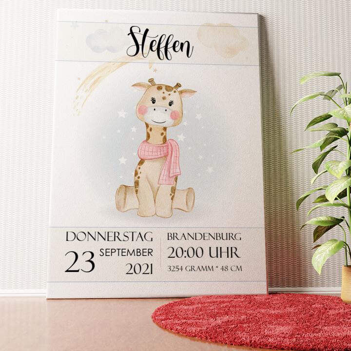 Personalisiertes Wandbild Leinwand zur Geburt Giraffe
