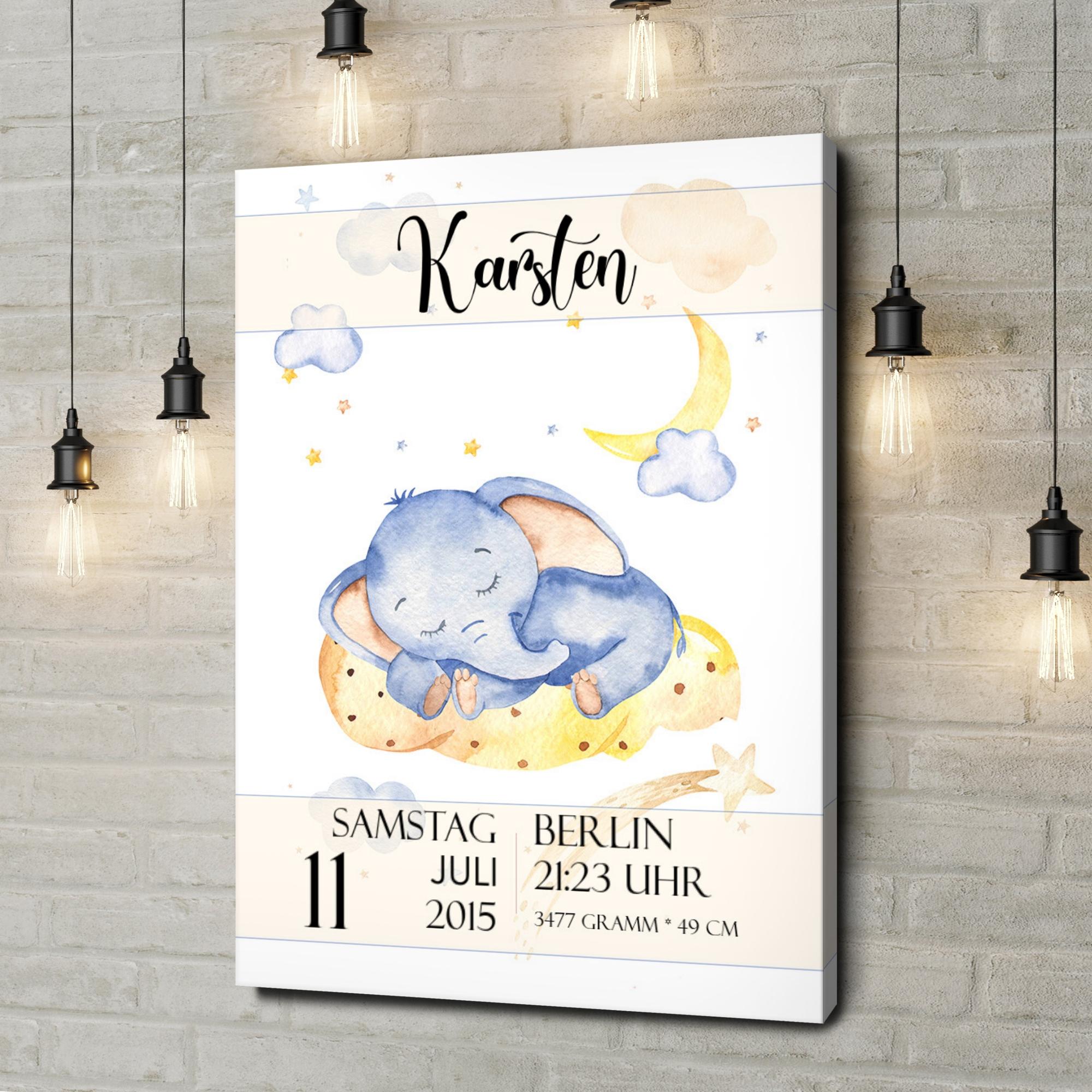 Leinwandbild personalisiert Leinwand zur Geburt Elefant träumt