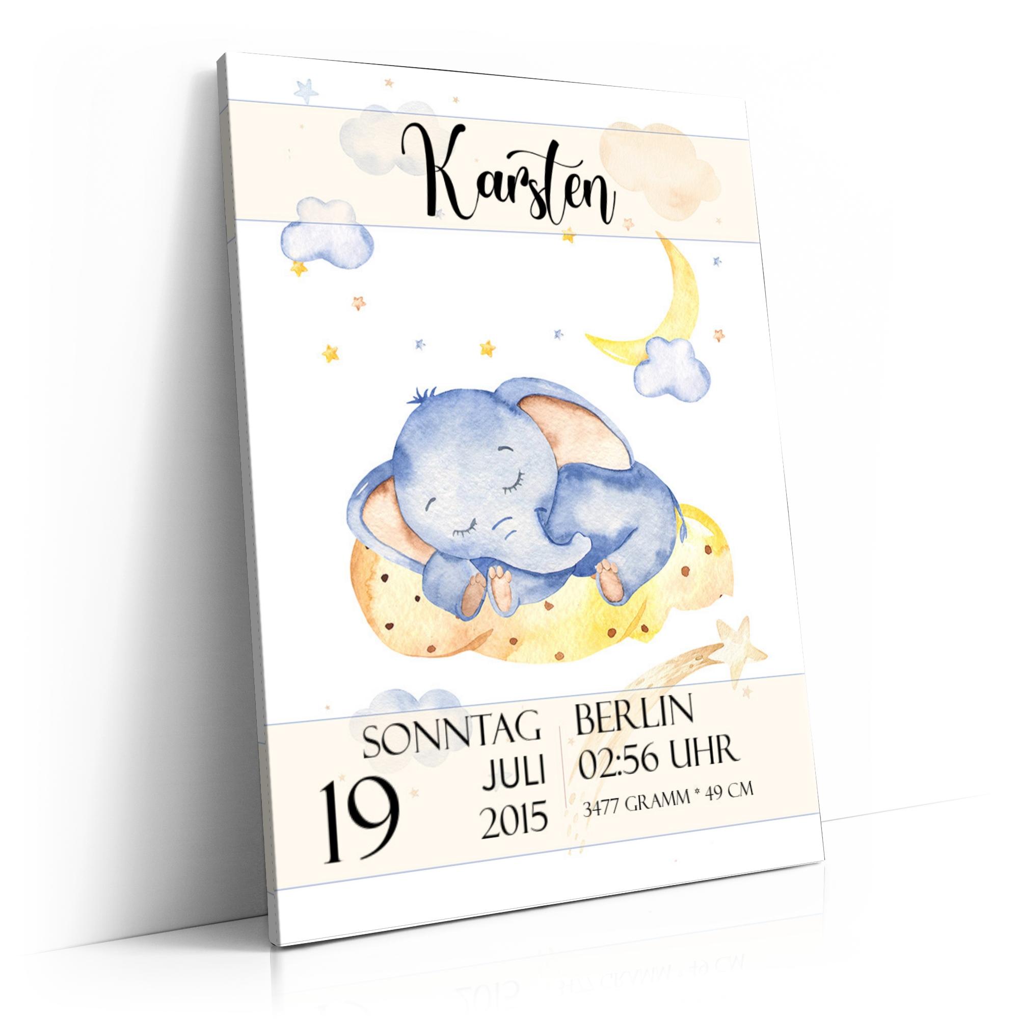 Leinwand zur Geburt Elefant träumt