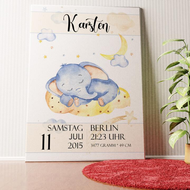 Personalisiertes Wandbild Leinwand zur Geburt Elefant träumt