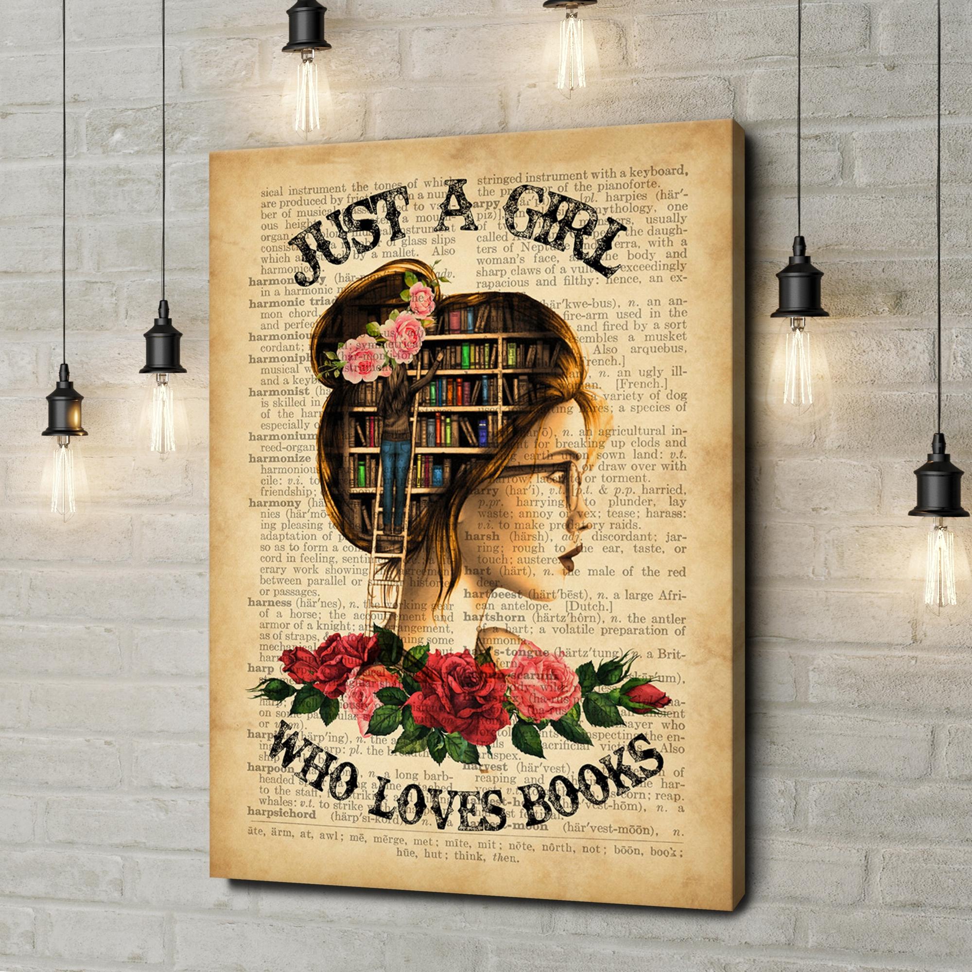 Leinwandbild personalisiert Girl Who Loves Books