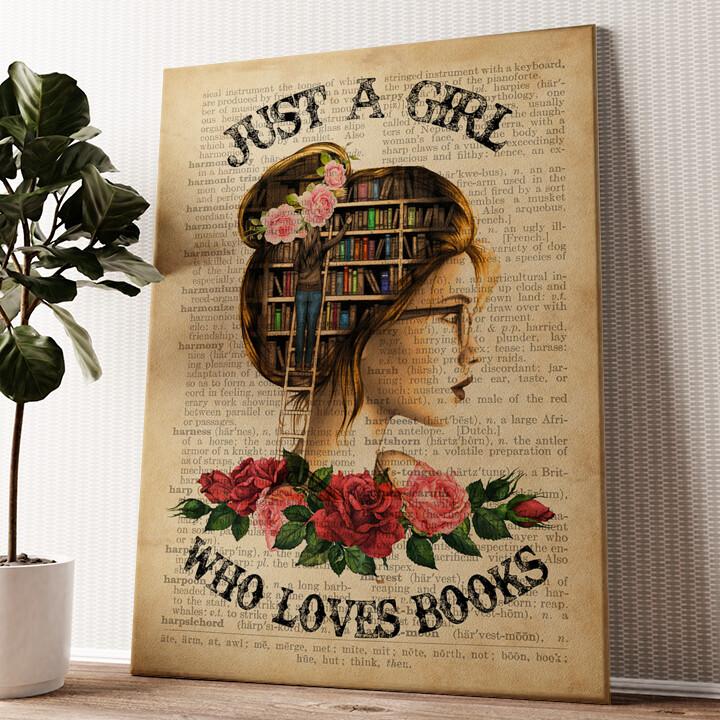 Girl Who Loves Books Wandbild personalisiert