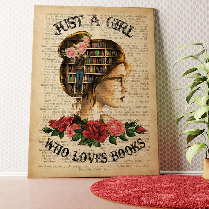 Personalisiertes Wandbild Girl Who Loves Books