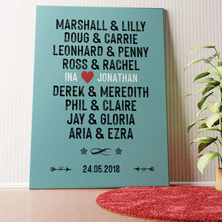 Personalisiertes Wandbild Du & Ich - Serienpaare
