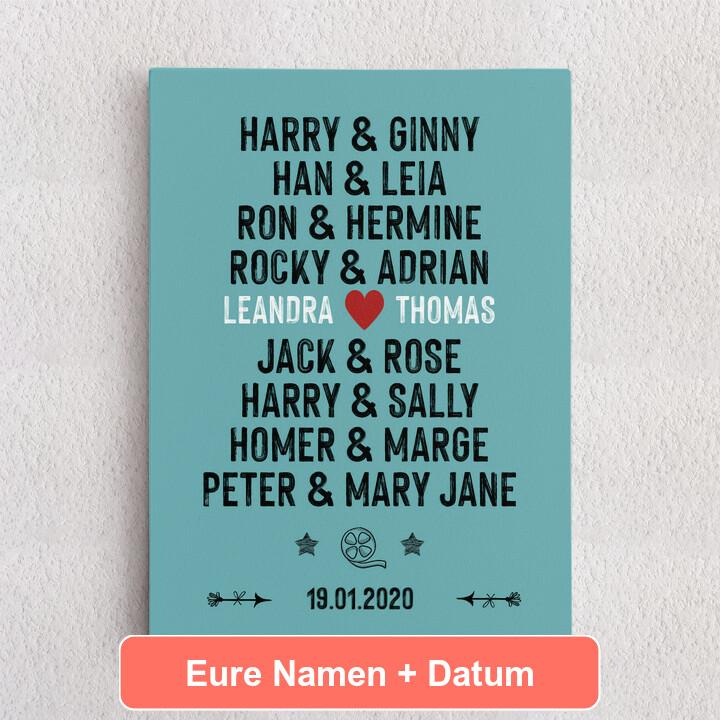 Personalisiertes Leinwandbild Du & Ich - Filmpaare