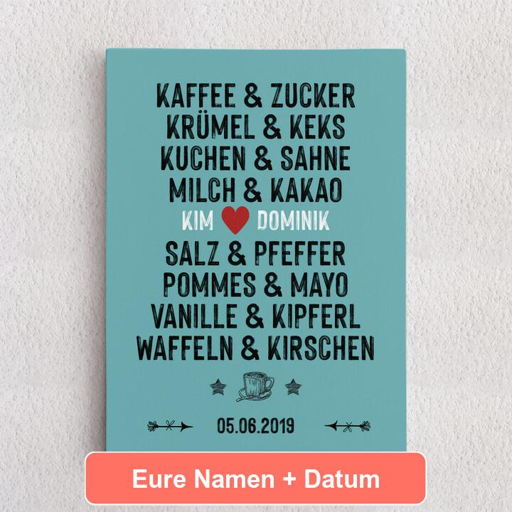 Personalisiertes Leinwandbild Du & Ich - Genießer
