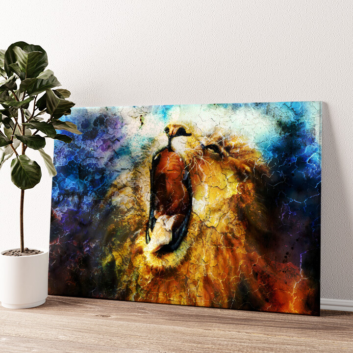Löwe Abstrakt Wandbild personalisiert