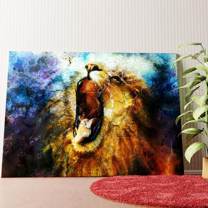 Personalisiertes Wandbild Löwe Abstrakt