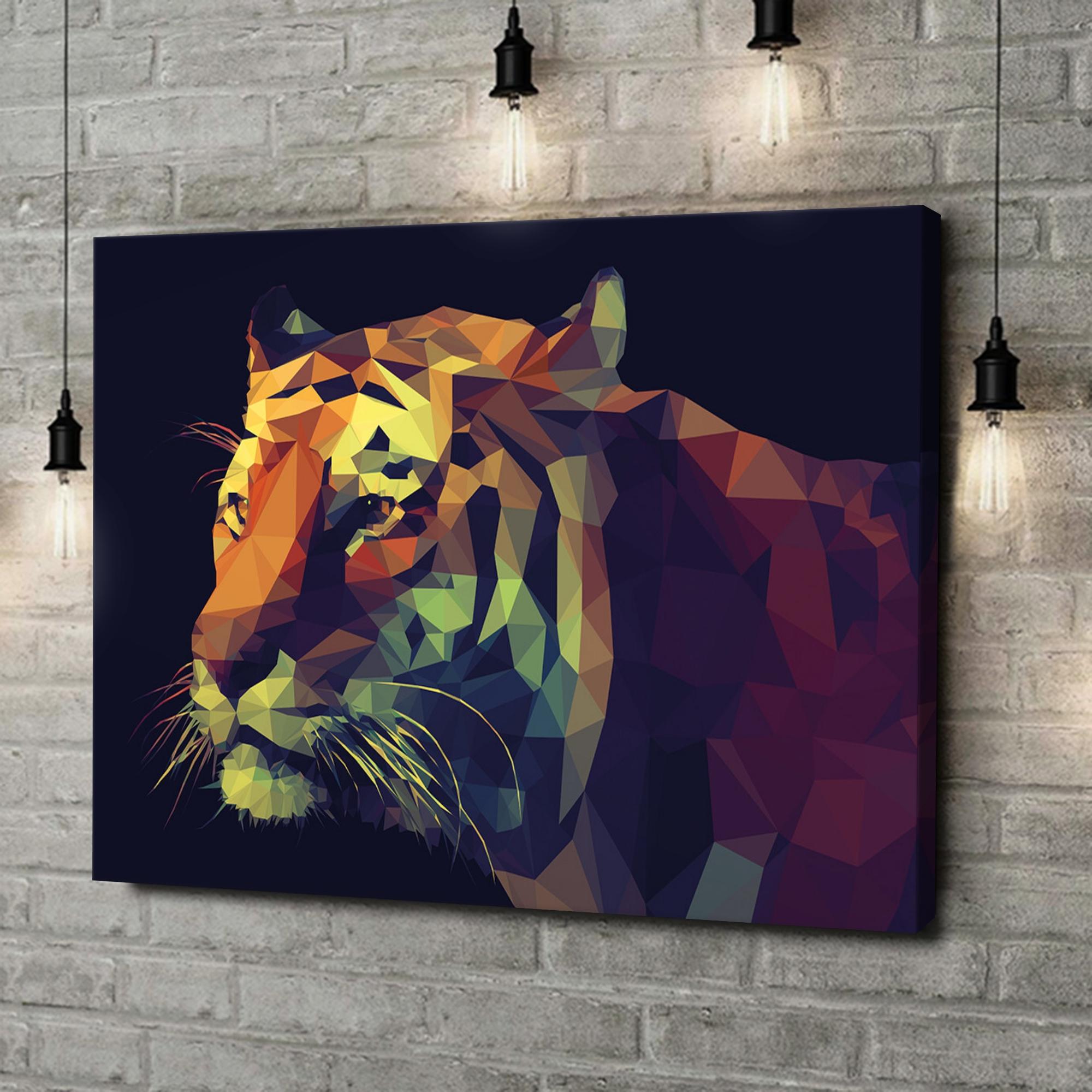 Leinwandbild personalisiert Tiger Polygon