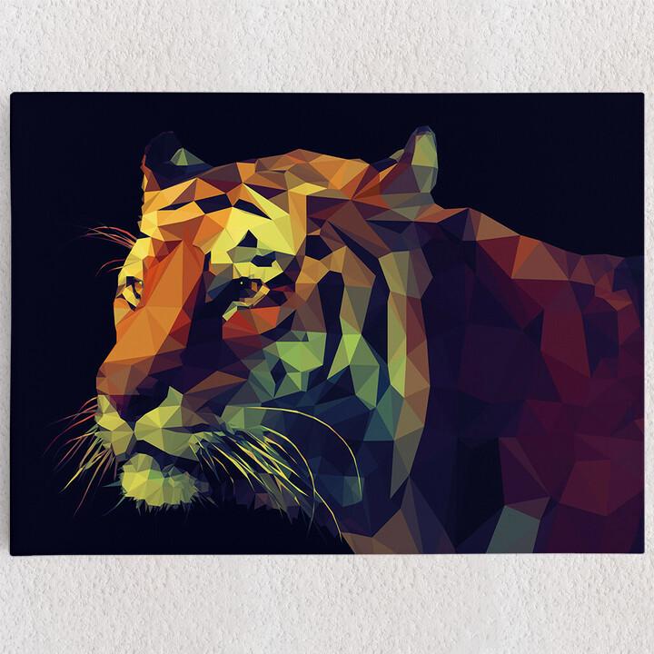 Personalisiertes Leinwandbild Tiger Polygon