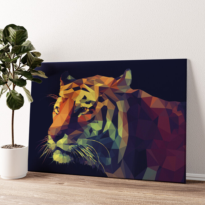 Tiger Polygon Wandbild personalisiert