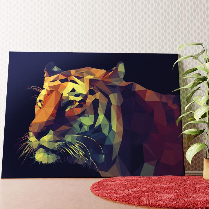 Personalisiertes Wandbild Tiger Polygon