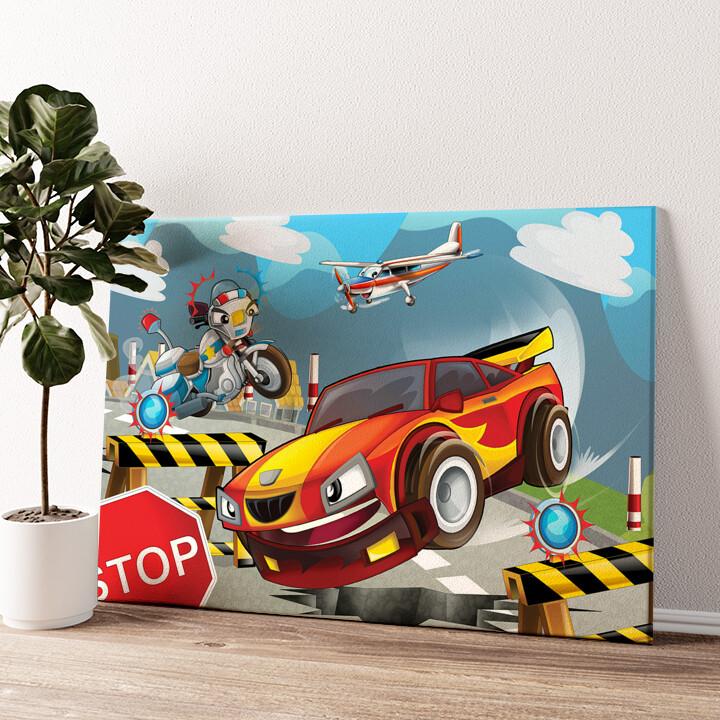 Cartoon Rennwagen Wandbild personalisiert