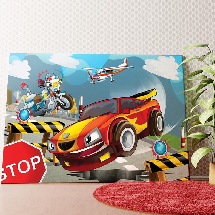 Personalisiertes Wandbild Cartoon Rennwagen