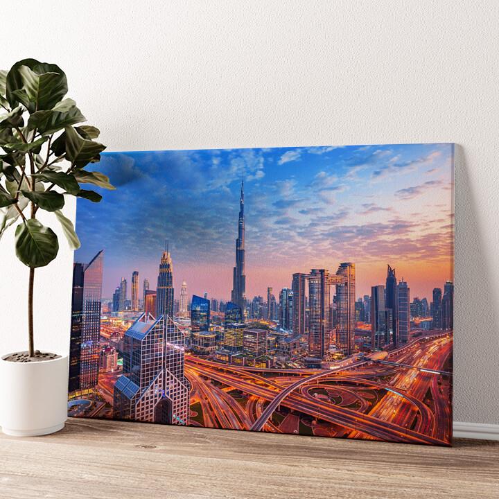 Dubai Skyline Wandbild personalisiert