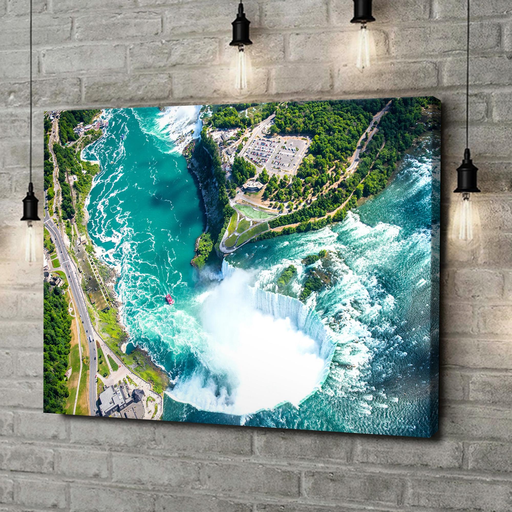 Leinwandbild personalisiert Niagara Wasserfälle Luftaufnahme