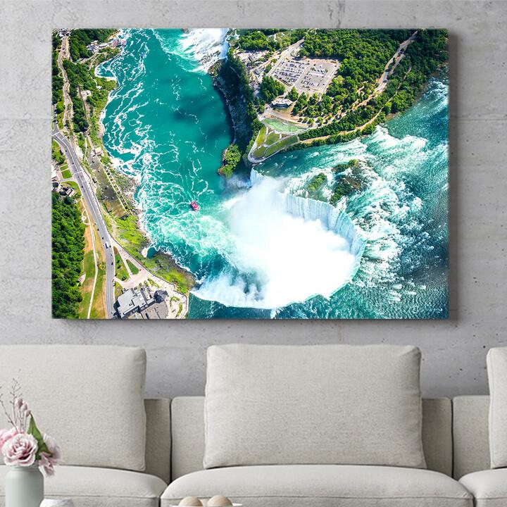 Personalisierbares Geschenk Niagara Wasserfälle Luftaufnahme