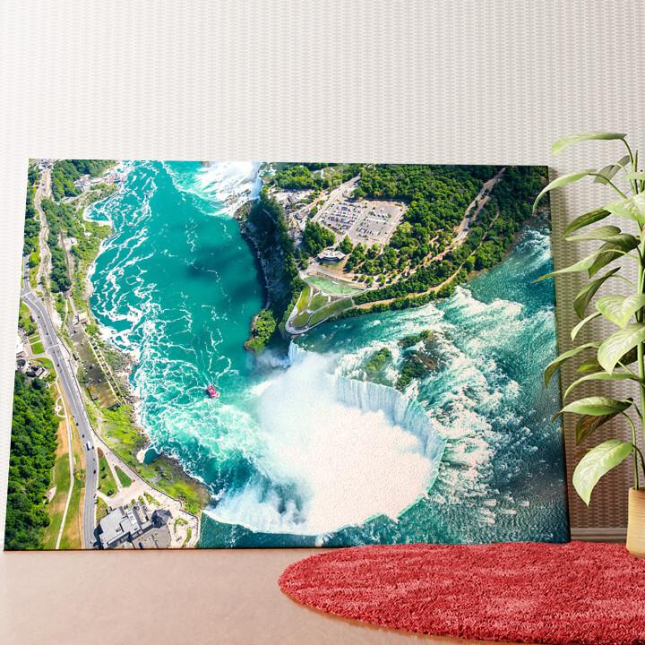 Personalisiertes Wandbild Niagara Wasserfälle Luftaufnahme