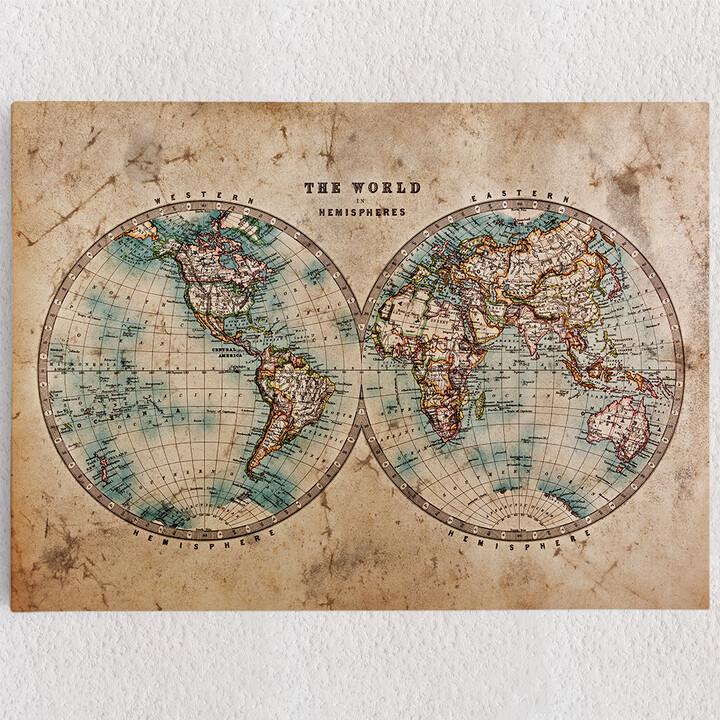 Personalisiertes Leinwandbild Weltkarte