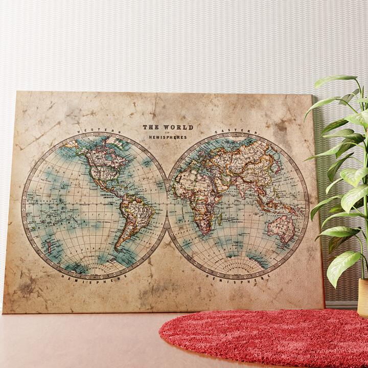 Personalisiertes Wandbild Weltkarte
