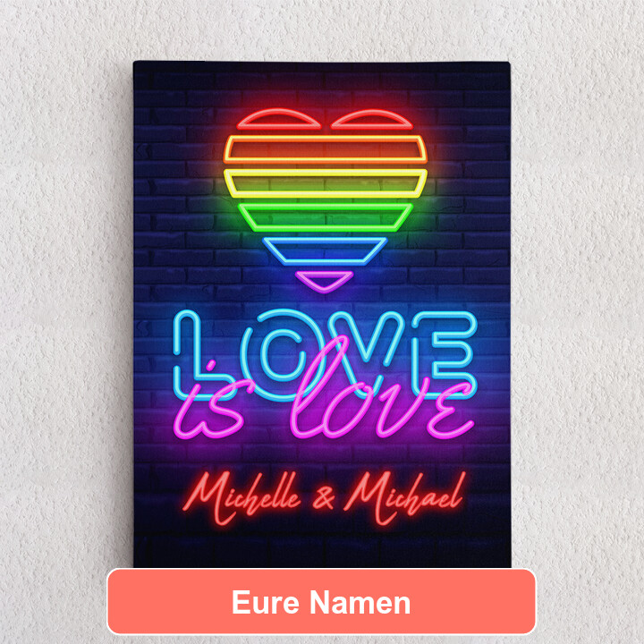 Personalisiertes Leinwandbild Love Is Love