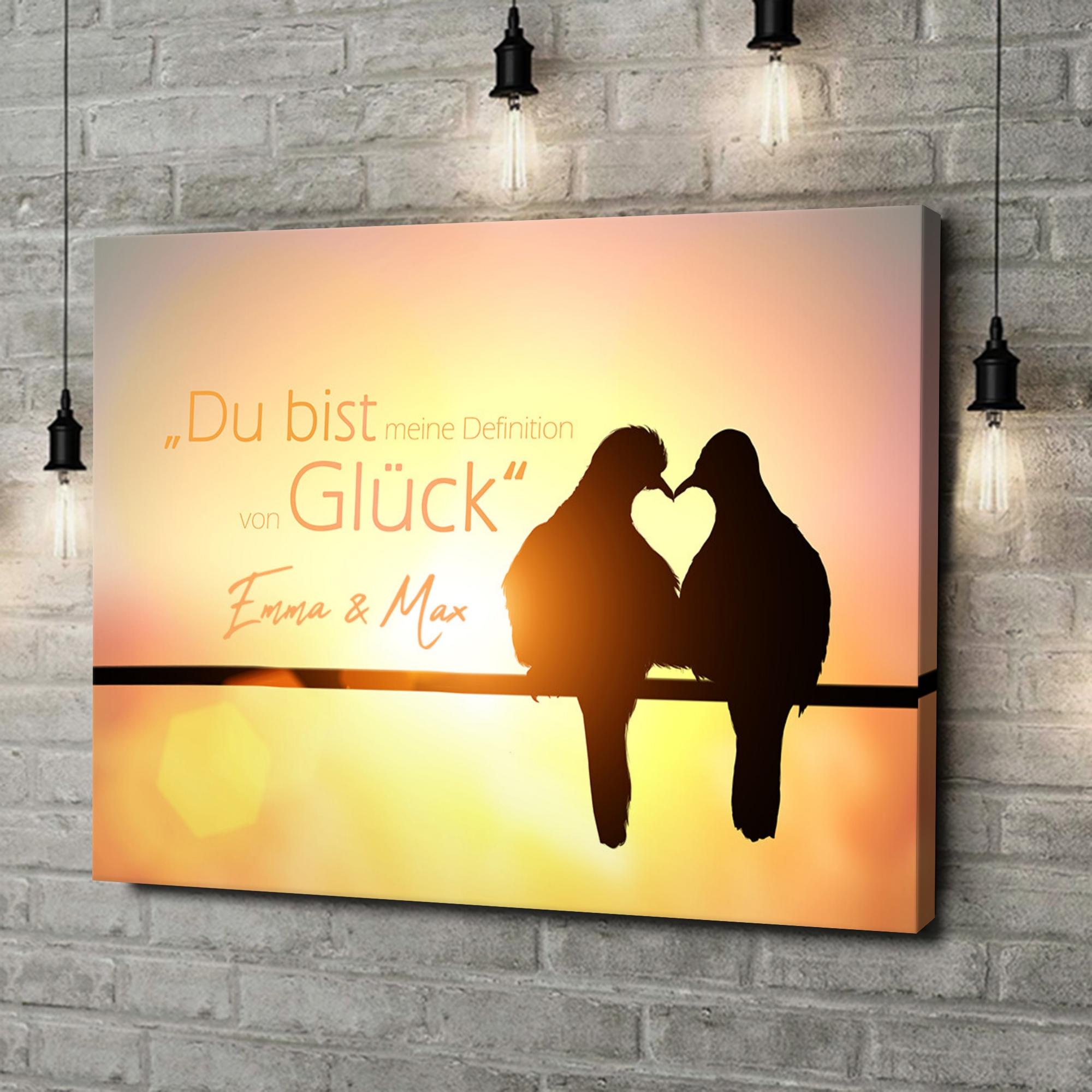 Leinwandbild personalisiert Love Birds
