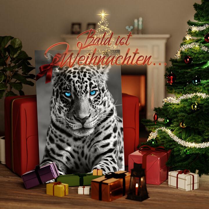 Liebesleinwand zu Weichnachten Leopard