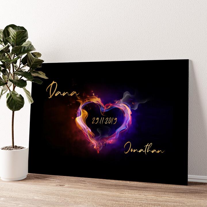 Burning Hearts Wandbild personalisiert