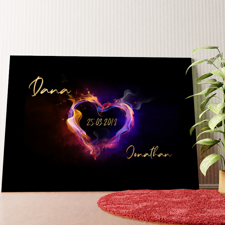 Personalisiertes Wandbild Burning Hearts