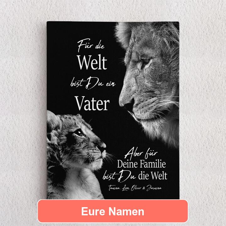 Personalisiertes Leinwandbild Löwenvater