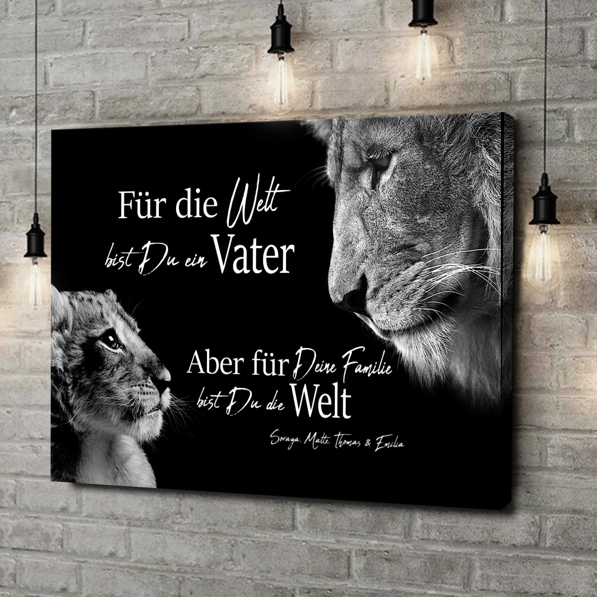Leinwandbild personalisiert Löwenvater (Querformat)